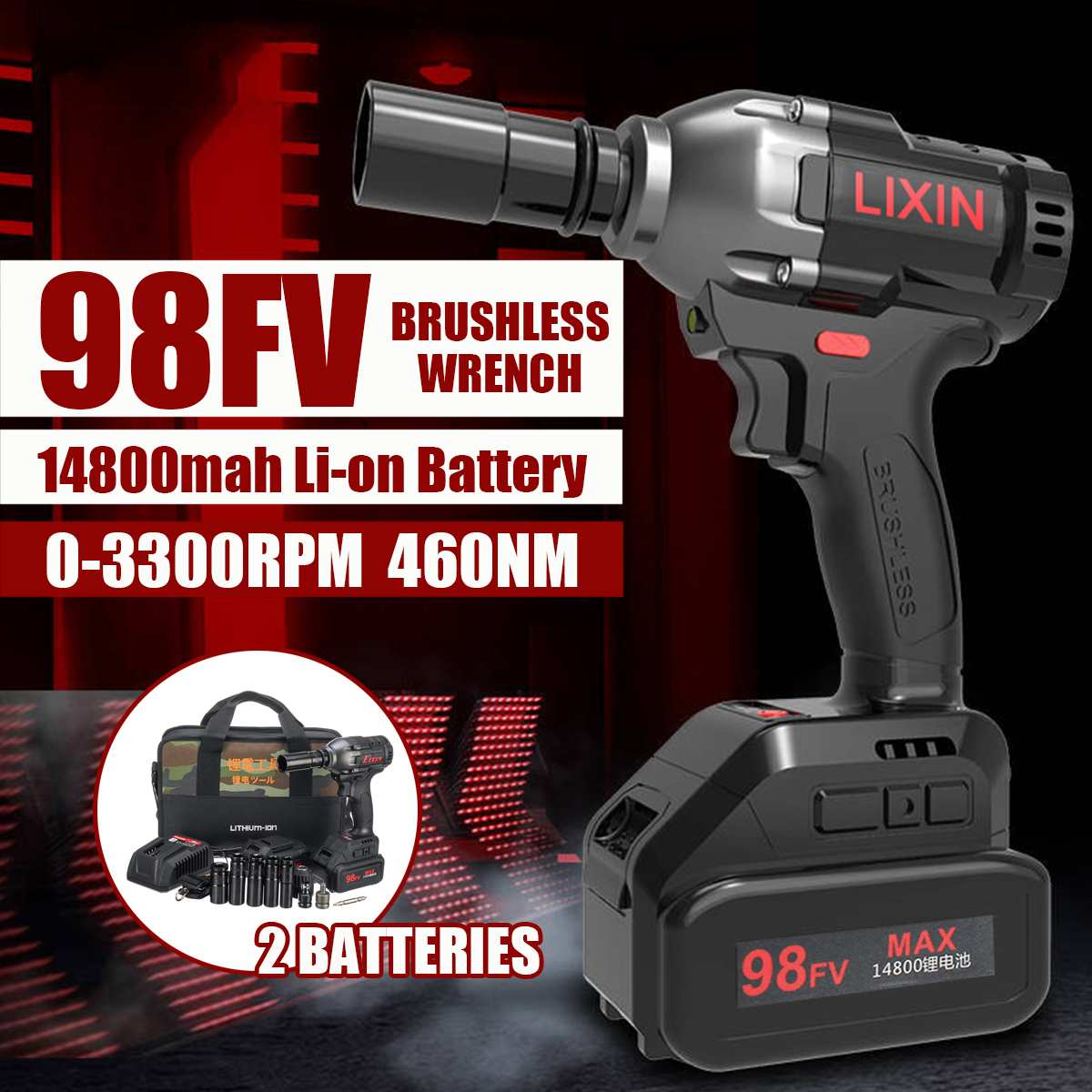 98VF Cordless Electric Wrench Impact Socket Drill Electric Screwdriver Rechargeable Li-on Battery Hand Drill Install Power Tools98VF Cordless Electric Wrench Impact Socket Drill Electric Screwdriver Rechargeable Li-on Battery Hand Drill Install Power Tools