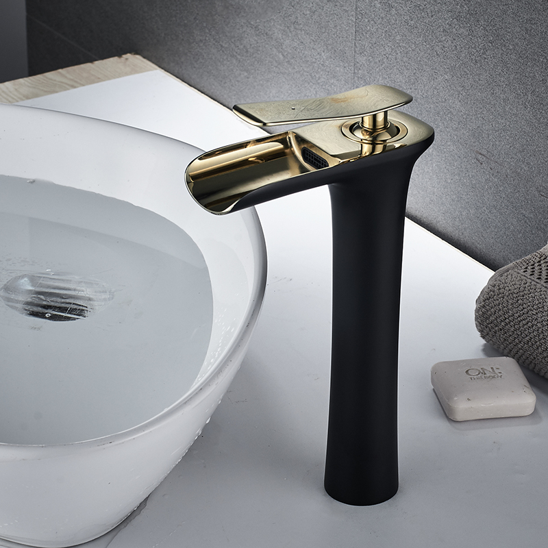 ORB черный золотой Смесители для ванной комнаты умывальник смесители водопад высокие ванной комнате раковина смесителя Одной ручкой
