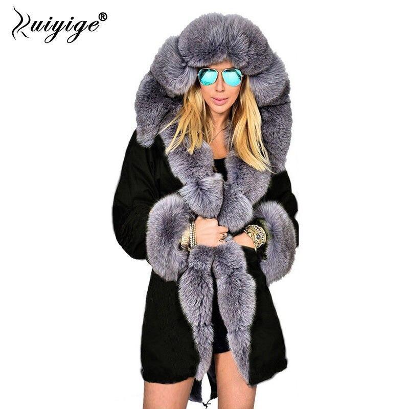 Ruiyige Winter Jacket Women 2018 New Fashion Hooded Coat Faux Fur Collar Long Overcoat Female Warm Coats   Parkas   Plus Size