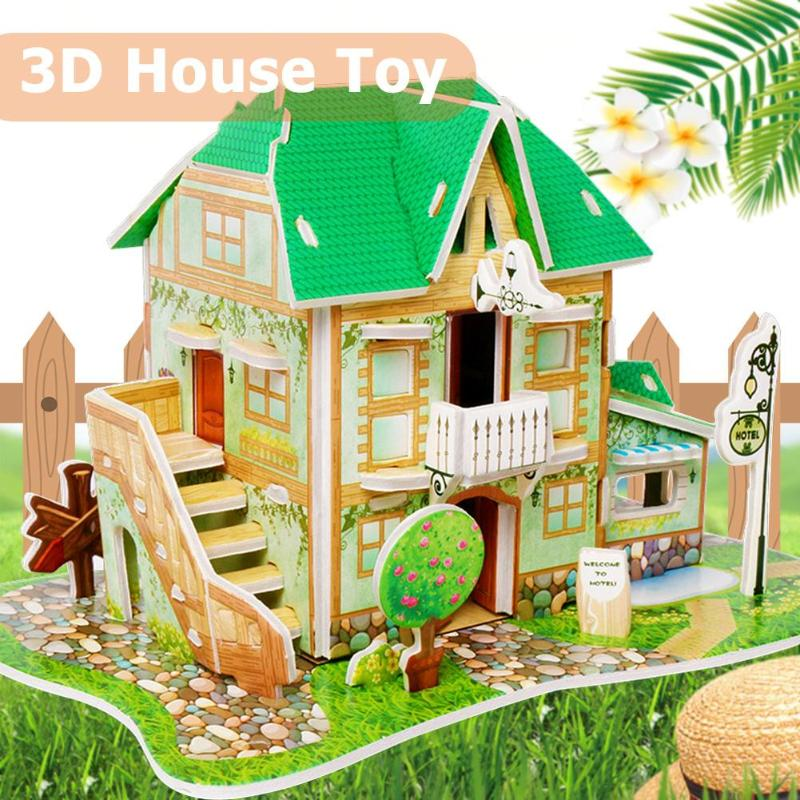Kids DIY Toy 3D Wooden Puzzles Dollhouse Apartment Doll House Furniture Educational Toys Furniture For Children Child Gift