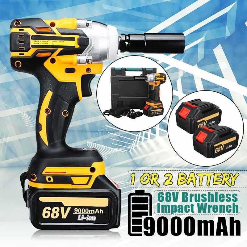 68V 9000mAh 520N.m Cordless Lithium-Ion battery Electric Impact Wrench Cordless Brushless with Rechargeable Battery AC 100-240V