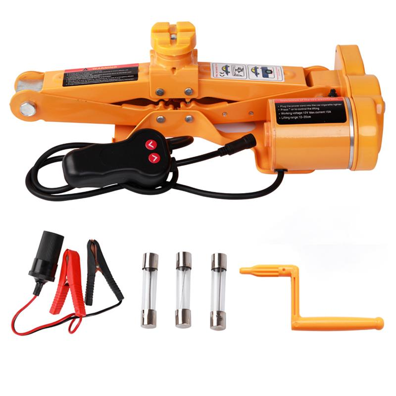 2Ton DC 12V/10A 100W Fully Automatic Electric Scissor With A Night LightCar Lift Jack Repair Tire Wheel Chang Kit