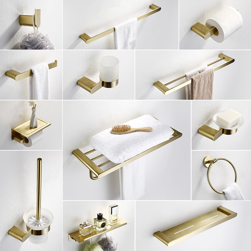 Bad Hardware Sets Luxus Gebürstet Gold Bad Zubehör Gericht Seife Sus304 Edelstahl Wc-bürstenhalter Wand Handtuch Bar Bad Hardware Haken Heimwerker