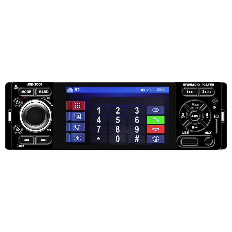 1Din 4.1 pouces autoradio lecteur Mp5 stéréo Bluetooth Audio Aux Iso Interface Mp3 Fm/Usb/lecteur Radio Jsd-3001