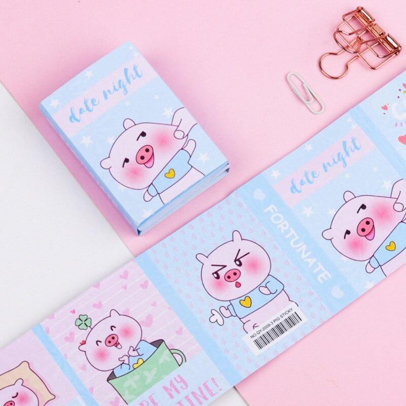 1 шт милый мультяшный смешной свинья 6 складной блокнот для