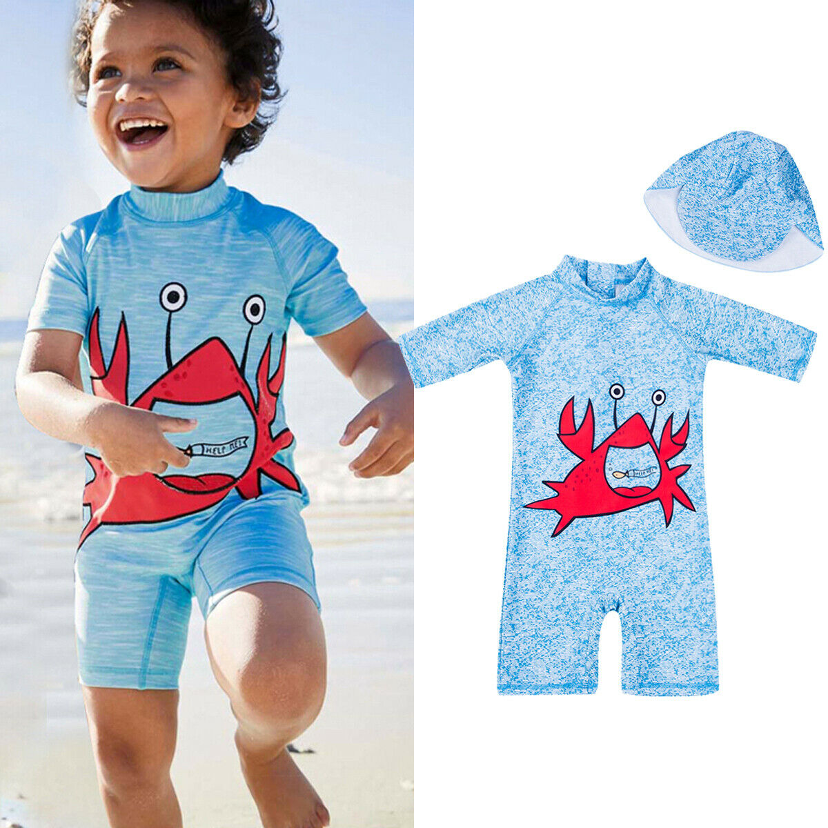 Rompers Boys' Baby Clothing The Best 2019 Canis Baby Kids Boy Summer Beach Swimwear Swimsuit Swimming Costume Trunks+hat Romper Blue Set Agreeable To Taste