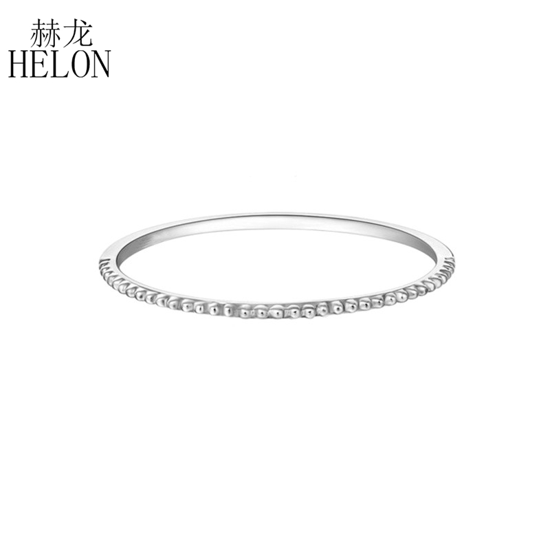 HELON Solid 14K White Gold Simple Rings for Women Engagement Gift Chic Accessories Fine Jewelry Art Deco Millgrain Wedding BandHELON Solid 14K White Gold Simple Rings for Women Engagement Gift Chic Accessories Fine Jewelry Art Deco Millgrain Wedding Band