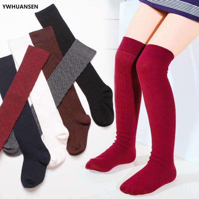 YWHUANSEN Girls' School Uniform Knee-High Sock Cable-Knit Children's Long Sock Fashion Kniekousen Kinderen Solid Color Kids Sock