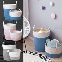 Home Storage Cotton Rope Storage Baskets Baby Laundry Basket Woven Basket With Handle Bag For Toys Underwear Sundries