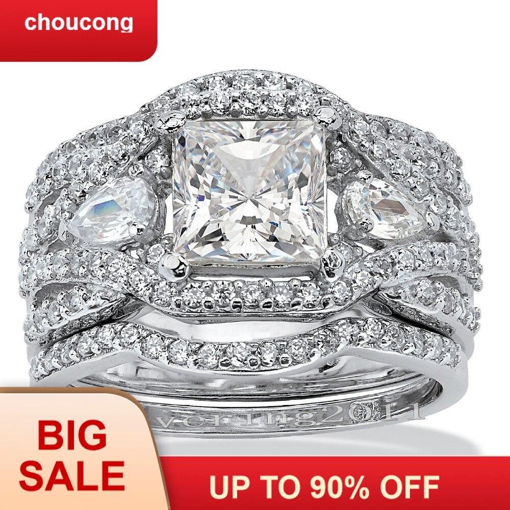 Choucong Princesse cut 7mm Pierre 5A Zircon pierre 10KT Blanc Gold Filled 3-en-1 Engagement bague de mariage ensemble d'anneaux Sz 5-11