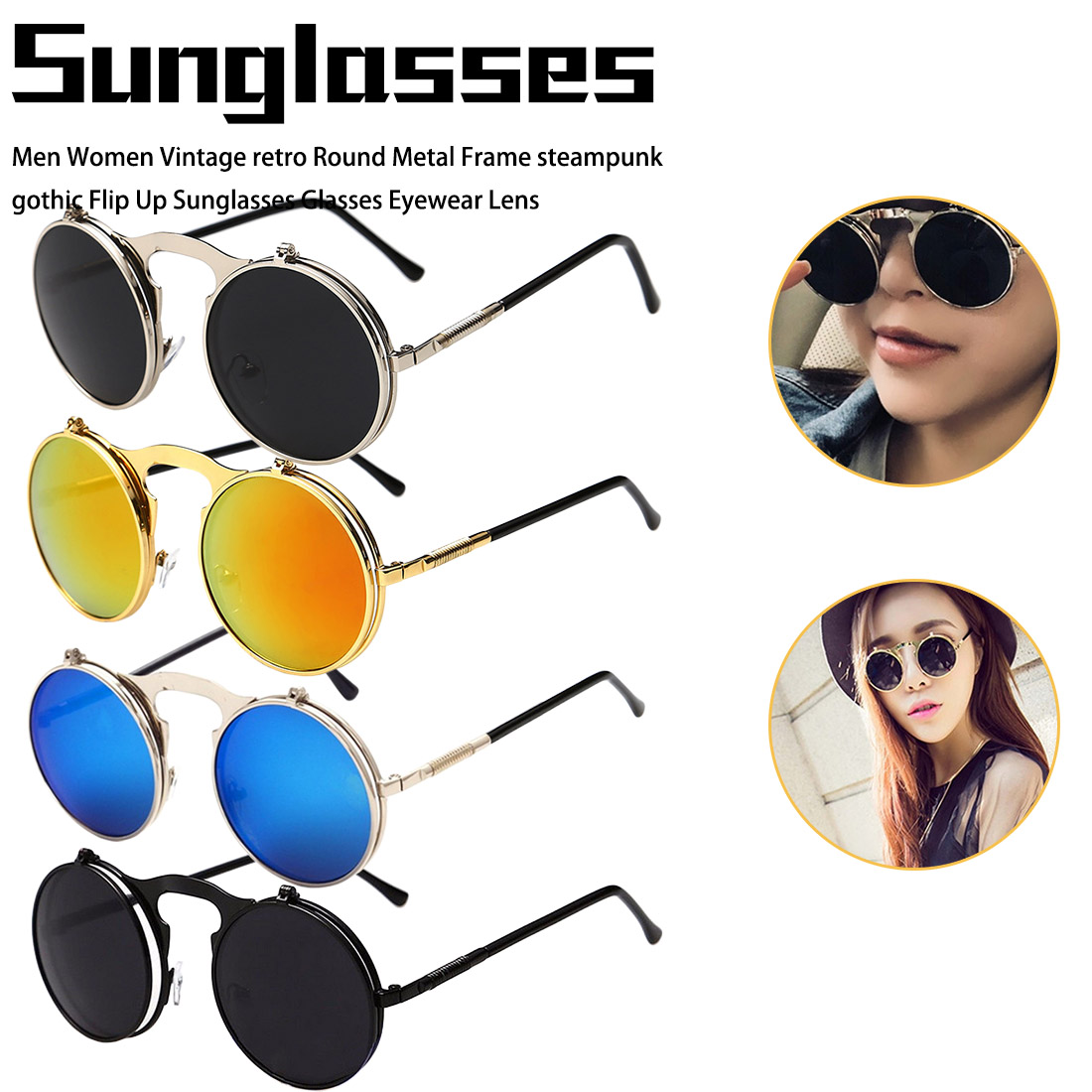 Vintage round steampunk sunglasses Men and Woman small round flip up sunglasses women retro metal silver cheap uv400 in Women 39 s Sunglasses from Apparel Accessories