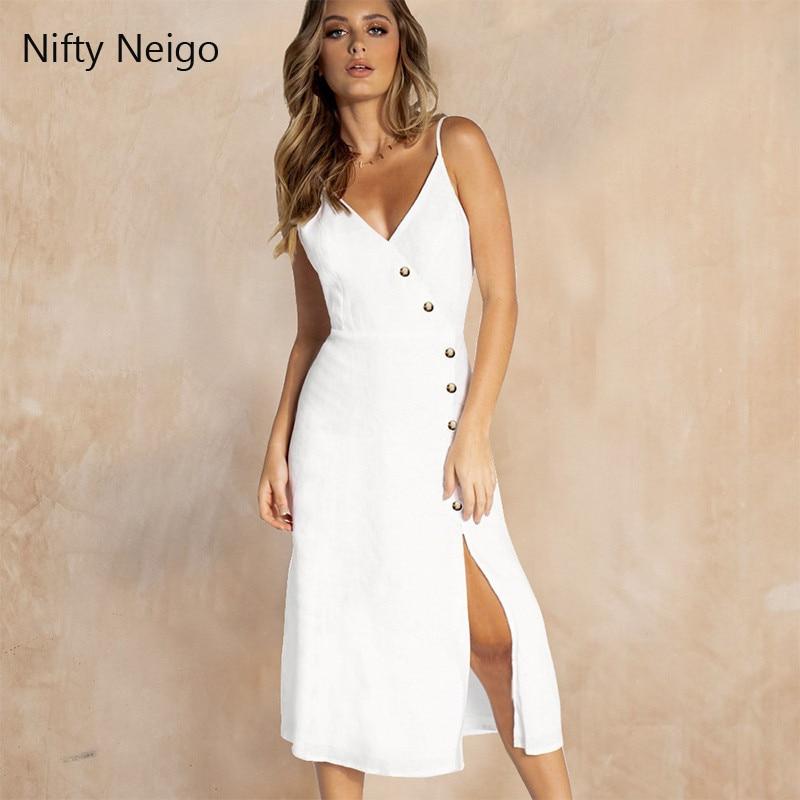 Nifty Neigo Sexy Women Summer Dress Asymmetric Spaghetti Strap Split Dress Club Wear Party Dress