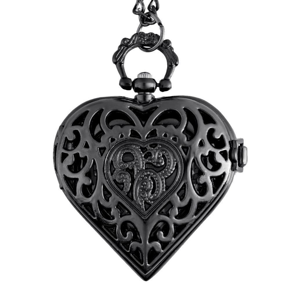 IBEINA Heart-shaped Pocket Watch Theme Full Hunter Quartz Engraved Fob Retro Pendant Pocket Watch Chain Gift