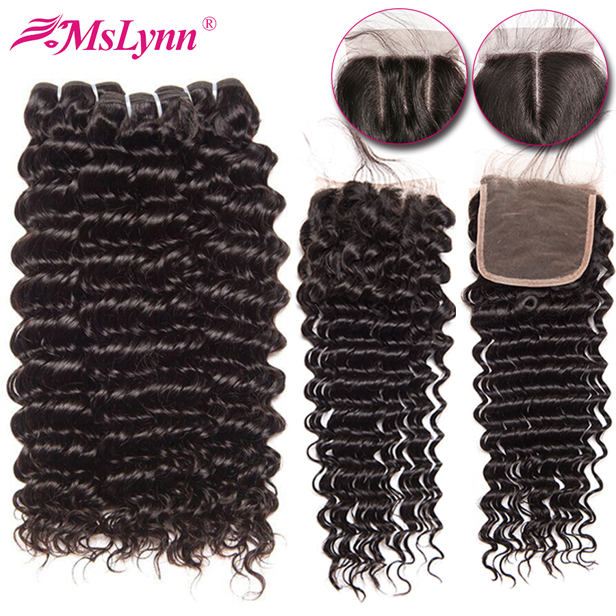 Deep Wave Bundles With Closure Brazilian Hair Weave Bundles With Closure NonRemy Human Hair Bundles With