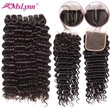 Deep Wave Bundles With Closure Brazilian Hair Weave Bundles With Closure NonRemy Human Hair Bundles With Closure Mslynn Hair