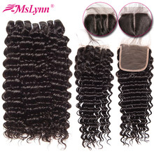 Deep Wave Bundles With Closure Brazilian Hair Weave Bundles With Closure NonRemy Human Hair Bundles With Closure Mslynn Hair(China)