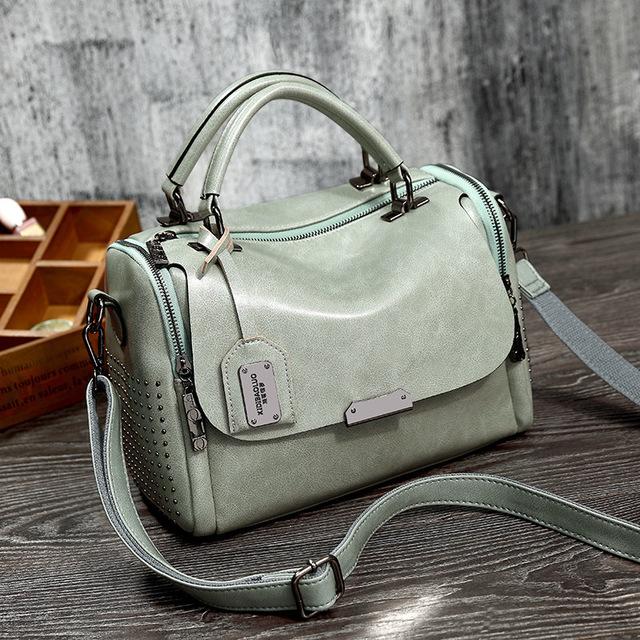 Boston Rivet Genuine Leather Luxury Handbags