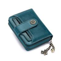 Women Casual Retro Style Buckle and Zipper Polyester Solid Short 140g Mini Wallets Square