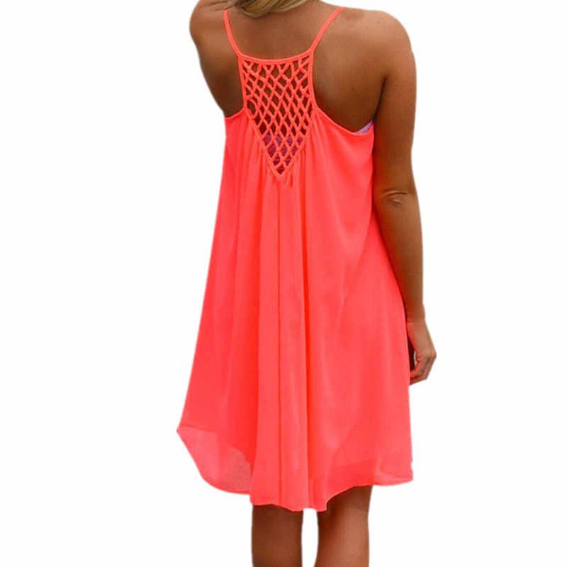 Большие размеры ZANZEA 2019 летние женские открытые шифоновые платья без рукавов Свободные повседневные пляжные мини-платья с ремешками Vestidos