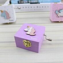 Wooden Music Box Cartoon Unicorn Carved Clockwork M