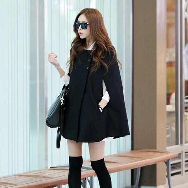 Fashion Vrouwen Lady Cloak Poncho Coat Losse Mode Uitloper Medium Lengte Kleding Voor Winter HSJ88