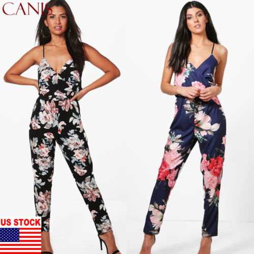 Women Boho Sleeveless Clubwear Playsuit Bodycon Party Trousers Floral   Jumpsuit   2019 Fashion Trend Sling Print Loose Piece