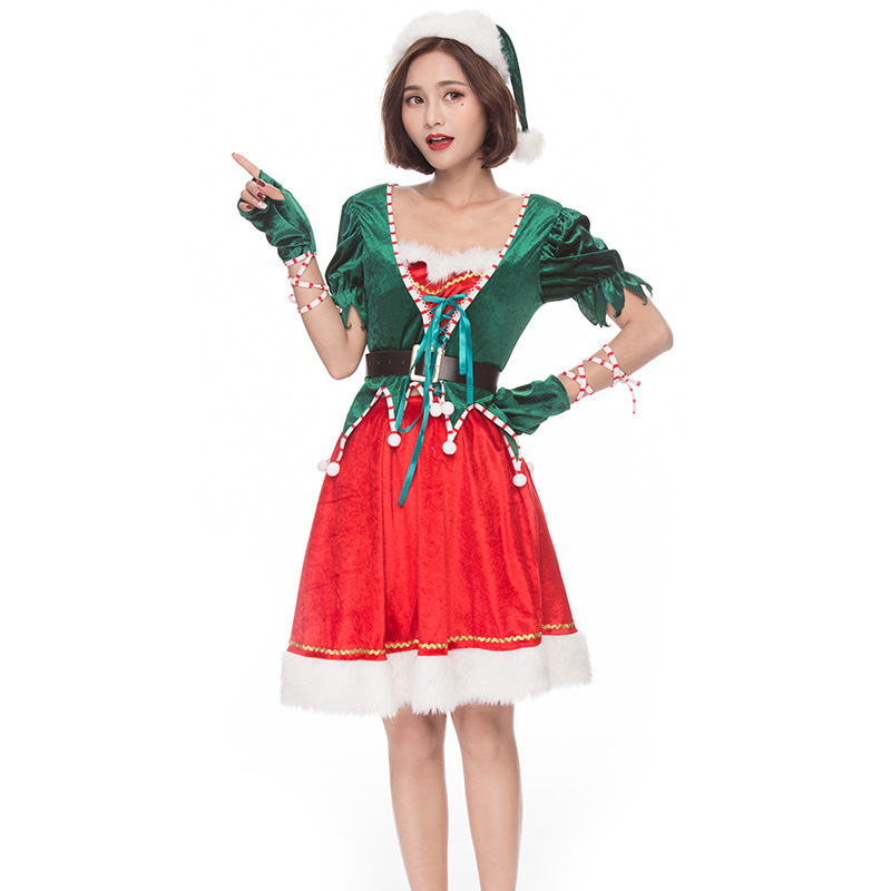 Cute Elf Costume Christmas Women Adult Santa's Helper Cosplay Costume Carnival Party Dress