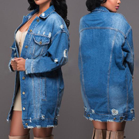 Fashion Autumn Women's Casual Long Sleeve Denim Long Jacket Coat Outwear Tops