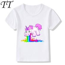2018 Children Cute Unicorn Print Funny T-Shirts For Girls Boys Summer Tops Kids Short Sleeve Clothes Kawaii Baby T shirt,HKP2141