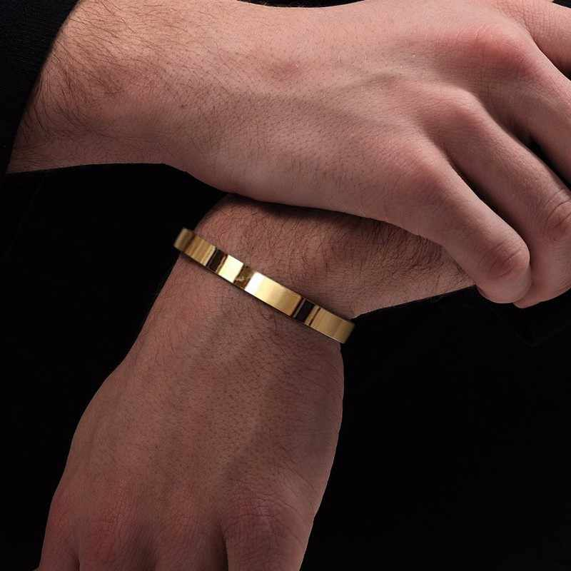 Solid Golden Flat 6mm 8mm Cuff Bangles for Men Bracelet Brackelts Brazalet Bileklik Braslet