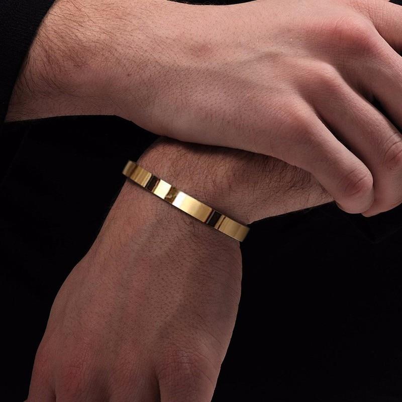 Solid Golden Flat 6mm 8mm Cuff Bangles for Men Bracelet Brackelts Brazalet Bileklik Braslet
