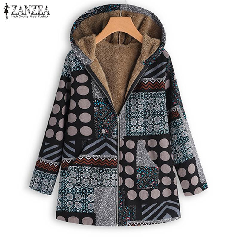 Coats Jackets Women Floral Printed Outwear ZANZEA Winter Lady Long Sleeve Hooded Fleece Fur Chaqueta Mujer Pockets Harajuku Coat