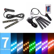 4 шт. автомобиля RGB Светодиодные полосы света цвета декоративный дизайн автомобиля Атмосфера лампы пол свет салона автомобиля аксессуары 12 В