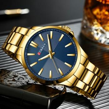 Luxury Men Watches Top Brand Gold Stainless Steel Band CURREN Quartz Watch Mens Waterproof Business Male Clock Relogio Masculino
