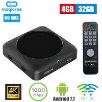 MAGICSEE N6 MAX ТВ Box Android 7,1 4 ГБ 32 ГБ 2,4 г 5gwifi 1000 Мбит/с USB3.0 OTG BT4.1 Поддержка 4 К H.265 Декодер каналов кабельного телевидения