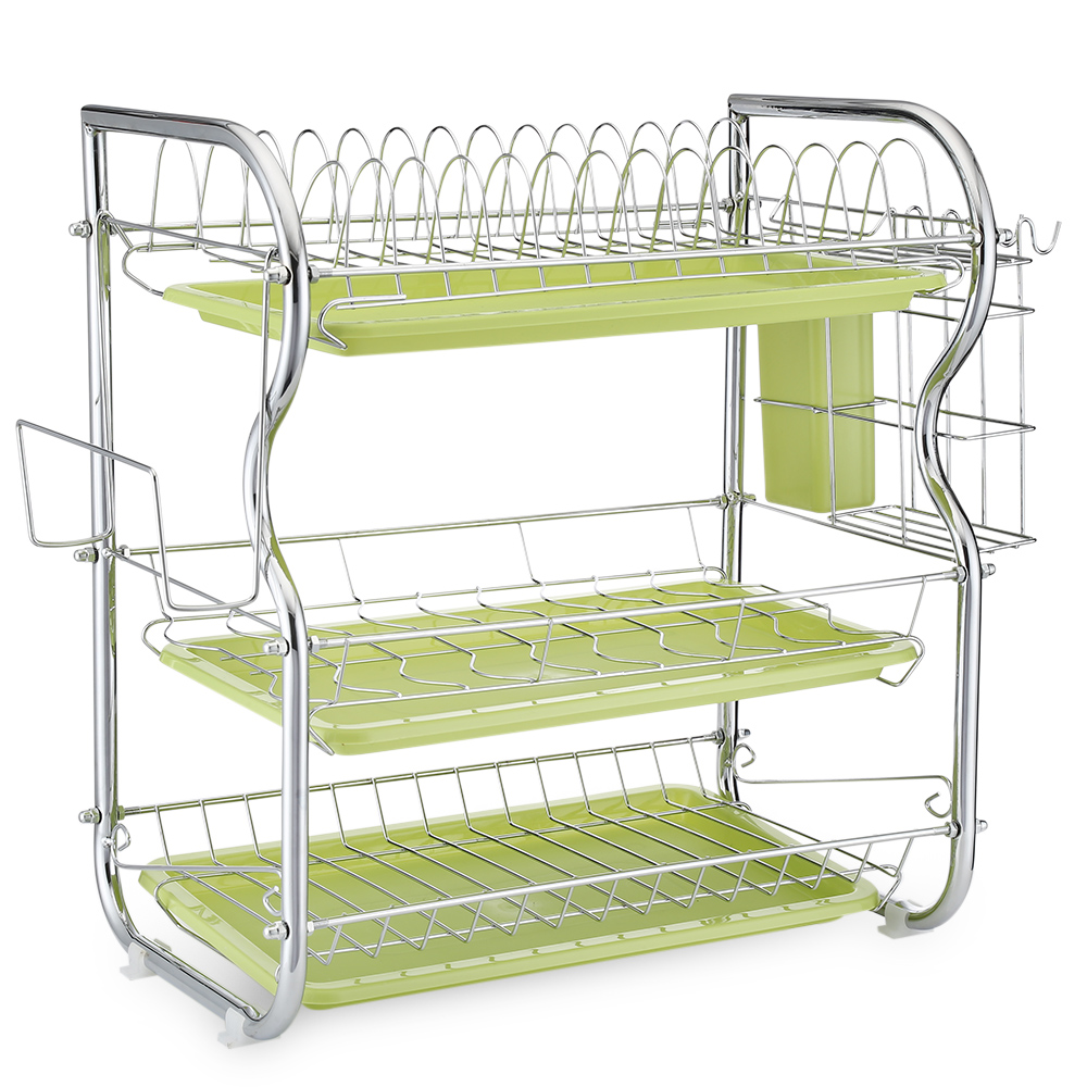 Storage Racks Us 25 98 New Stainless Carbon Steel Tableware Storage Rack Three Layers Chopping Board Kitchen Storage Bowls Rack Dishes Holders In Racks Holders