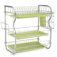 New Stainless Carbon Steel Tableware Storage Rack Three Layers Chopping Board Kitchen Storage Bowls Rack Dishes Holders