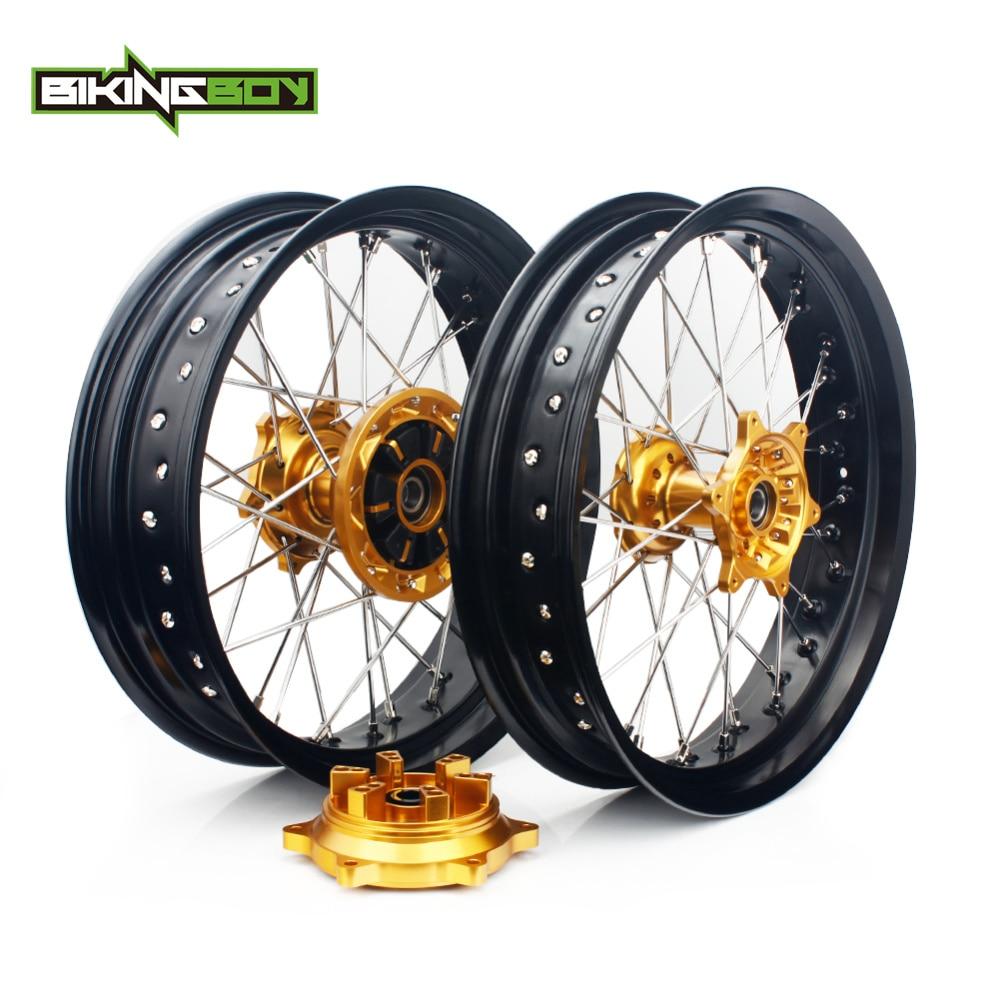 BIKINGBOY 17 Supermoto For Suzuki DRZ400SM 2005 2017 DRZ400 00 04 DRZ 400 S 00 17 DRZ400E 2000 2007 Front Rear Wheels Rims Hubs