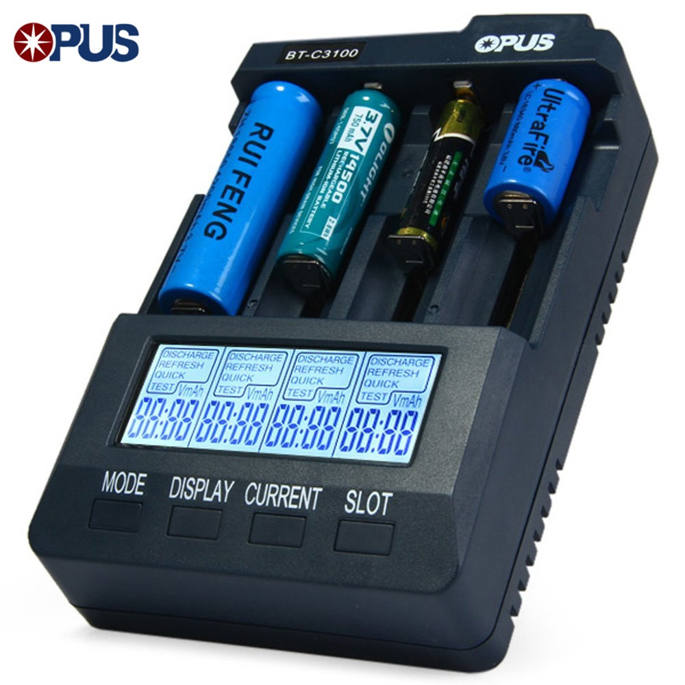 Opus Battery-Charger Intelligent Universal Nimh Smart Nicd Li-Ion 4-Lcd-Slots Digital title=