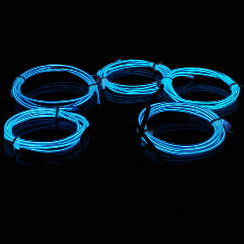 3M/5M Flexible Neon Light Glow EL Wire Rope tape Cable Strip LED Neon Lights Shoes Clothing Car Decor waterproof led strip Light