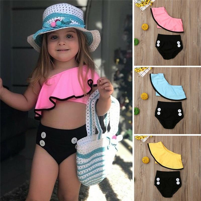 New Summer Toddler Kids Baby Girls Ruffle Bikini Set Swimsuit Swimwear Cute Swimming Costume Bathing Suit 1 To 6Y