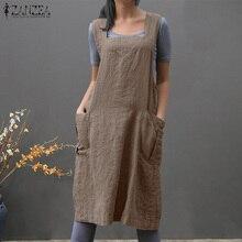 bf634ec8e6 ZANZEA Women Summer Sleeveless Dress Pockets Loose Solid Cotton Linen  Overalls Vestido Ladies Suspenders Casual Party