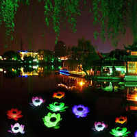 Romantic Solar Powered LED Lotus Flower Lamp Water Resistant Outdoor Floating Pond Night-Light for Garden Pool Decor Party