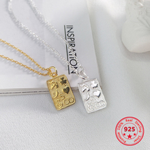 Pure 925 Silver European American New Design Creative Concise Square Pendant Necklace Fine Jewelry
