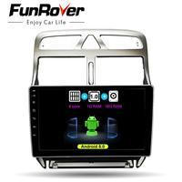 FUNROVER 2 din Android 8,0 автомобильный DVD GPS; Мультимедийный проигрыватель для peugeot 307 2002 2013 Радио Навигация wifi Bluetooth навигация стереосистемы