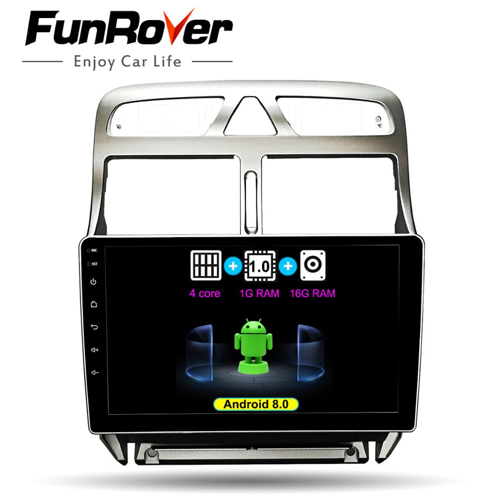 FUNROVER 2 din Android 8 0 Car DVD GPS Multimedia Player For peugeot 307 2002 2013