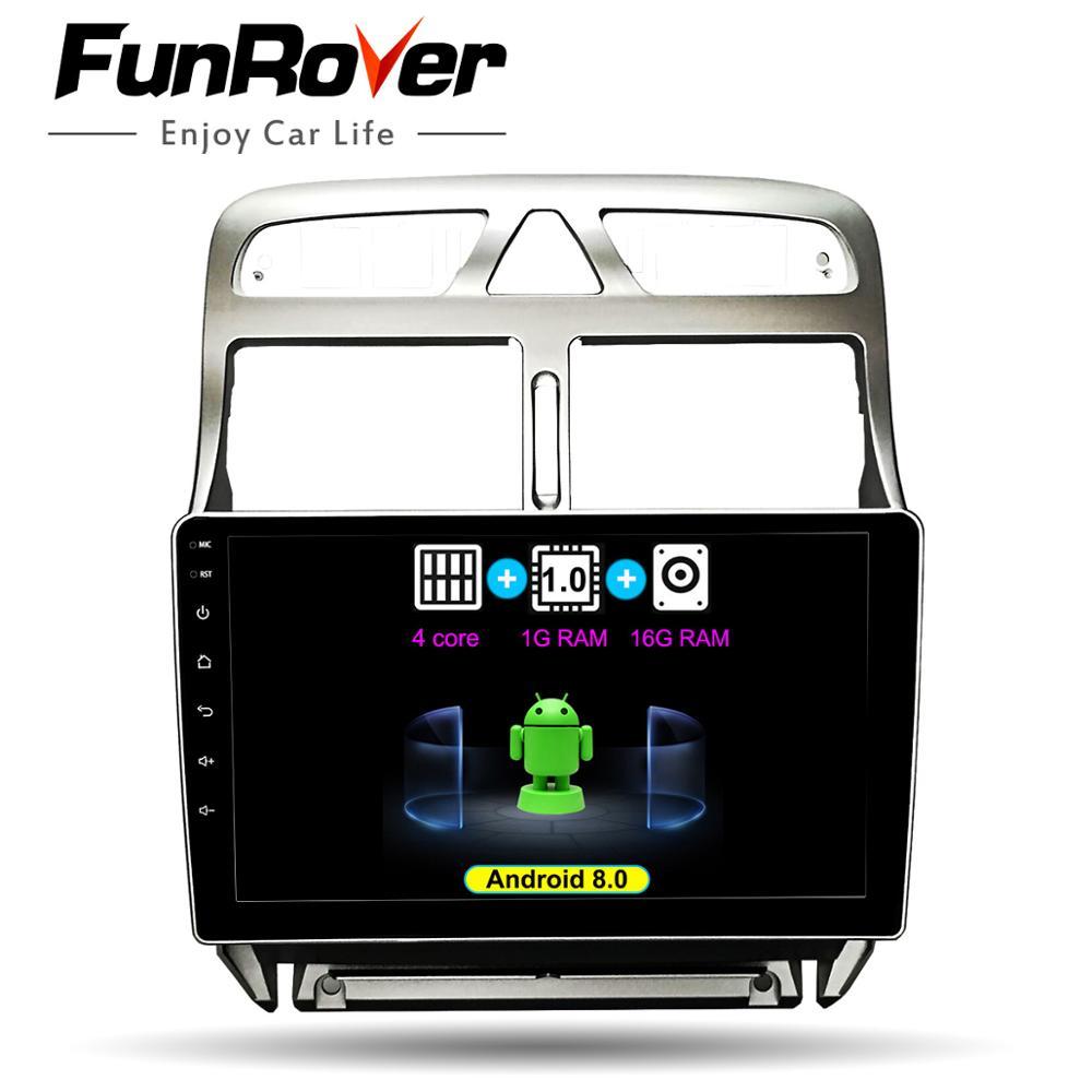 Lecteur multimédia de DVD GPS de voiture de FUNROVER 2 din Android 8.0 pour peugeot 307 2002-2013 radio Navigation wifi navi bluetooth stéréo
