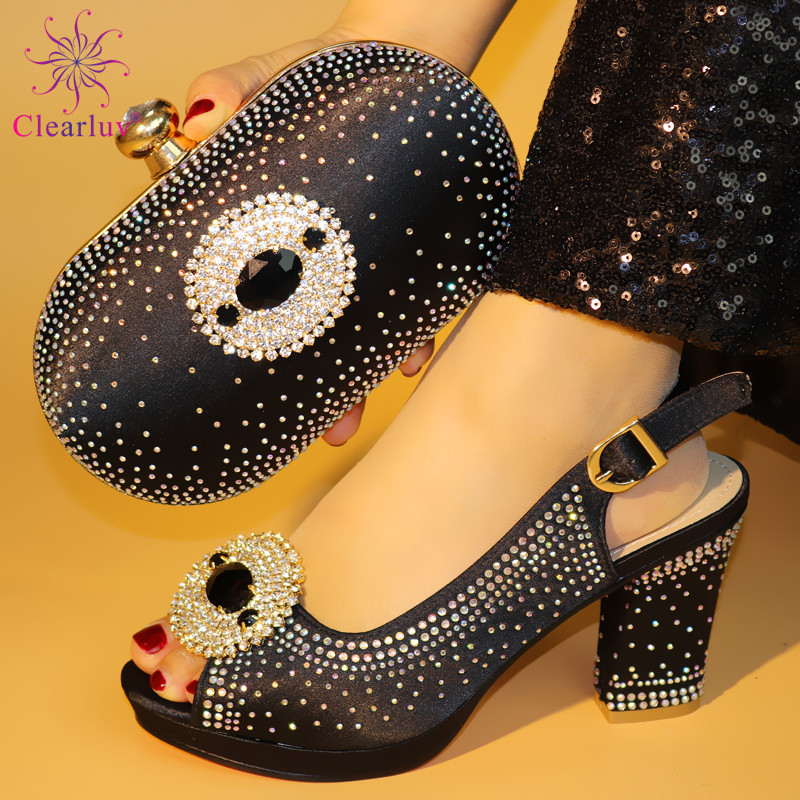 Black Color 2019 African Women Matching Italian Shoes And Bag Set For Wedding Italian Shoes With Matching Bag Italy Shoe And Bag