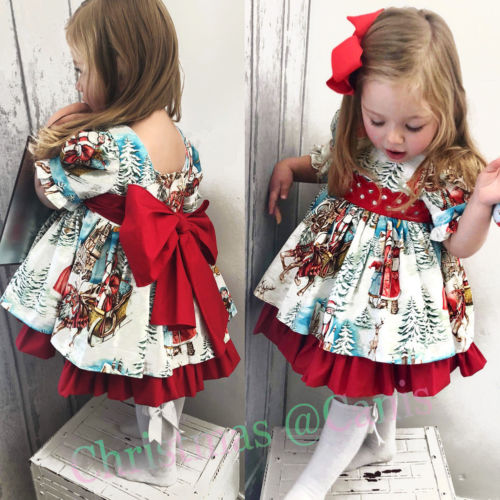 Christmas Toddler Kids Baby Girl Xmas Flared Party Santa Swing Dress Clothes