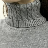 Женский Повседневный трикотажный топ с длинными рукавами, однотонный зимний тонкий свитер с высоким воротом, переплетенный переплетением, ...